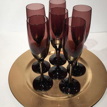 Libbey Glass Plum Violet Champagne Flutes Set of 6