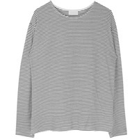 Basic Striped Extended Sleeve Top | mixxmix