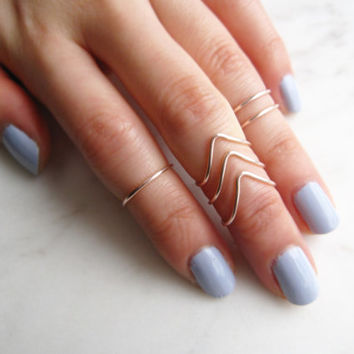 Rose Gold Rings, midi ring set of 6//midi set, Stacking Ring, Band Style, Chevron, v shaped ring, Adjustable,Rose Gold Ring Wire Rings, Gift