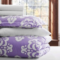 Ikat Medallion Essential Duvet Value Bedding Set, Lavender