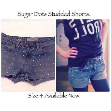Tumblr teeny tiny studded jean Shorts Size 4. Levis blue teen tween tumblr grunge micro hot sexy style women