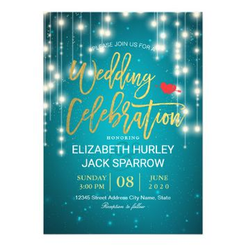 Elegant Gold Script Turquoise Wedding Celebration Card