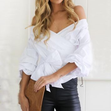 White Ruffles Blouse with Bow Tie