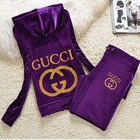 Hot Sale Gucci Popular Women Pleuche Velvet Leisure Long Sleeve Shirt Sweater Pants Sweatpants Set Two-Piece Purple I/A
