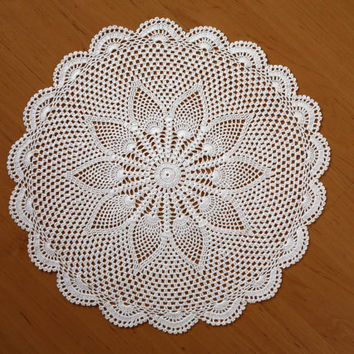 Valentine Elite DOILIES - Set 2 Handmade Crochet Doilies-  Round Placemat - Coaster - Natural and White Color