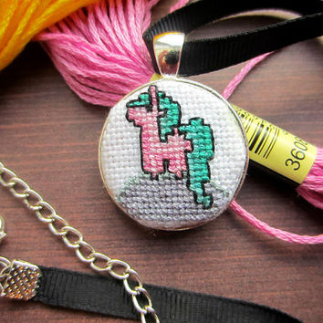 Unicorn Necklace, Cross Stitch Necklace, Unicorn Cross Stitch, Handmade Necklace, Pink Necklace, Pink Unicorn, Cute Necklace, Gift for Her