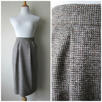 Vintage Gray / Brown Tweed Wool High Waisted Wiggle Pencil Skirt by Peabody House - XS/XXS/XXXS