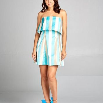 Capture The Night Striped Turquoise Gold Short Dress