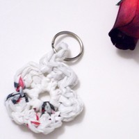 Crocheted flower key chain made with plarn | Crochetedlittlethings - Accessories on ArtFire