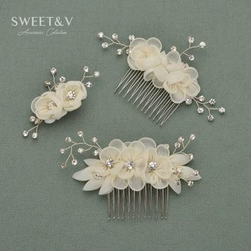 Romantic Wedding Hair Comb Clip Pins Flower Hairpins - Handmade Rhinestone Women Hair Accessories Decoration for Party Reception