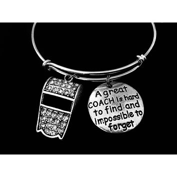 A Great Coach is Hard to Find Rhinestone Whistle Adjustable Bracelet Expandable Silver Charm  Bangle Gift