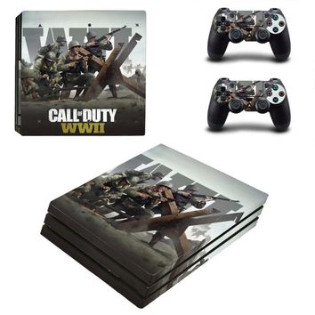PS4 PRO for Playstation 4 PRO Console Skin Decal Sticker + 2 Controller Skins Set (Pro Only) - Call of Duty:WWII