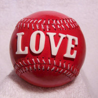 For LOVE of the Game Hand Painted Red Baseball // Collectible Baseball // Office Decor // Sports Decor // Home Decor // Gift Ideas