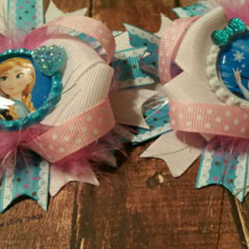 Frozen Inspired - Snow queen and princess hair bow - hairbow lot - ready to ship - fast shipping - Boutique hair bow