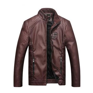 Casual Solid Fashion Leather Bomber Jacket