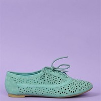 Cut-Out Oxford Flats - Green