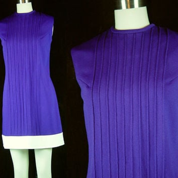60s Purple White Mini Dress Vintage 1960s Go Go Mod Ribbed Polyester Knit M L