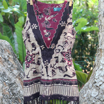 Boho Girls Tribal Dress With Fringe Balinese Batik Bohemian Style Toddler Clothing 4
