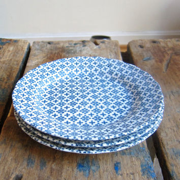 4 Nikko Salad Plates Double Phoenix Colonial Pattern Blue White Ironstone Japan Artful Dining Table Ware