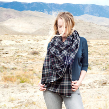 Plaid Blanket Scarf, Oversized Flannel Tartan Wrap, Charcoal Black Cotton Scarf, Scarf Womens Scarves, Extra Large Scarf Winter Gift for Her