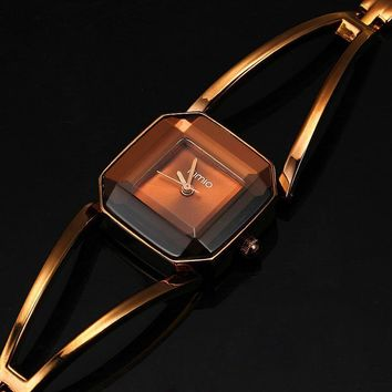 Women Wrist Watch Luxury stainless Steel Hollow Square Bracelet