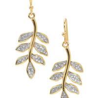 Gold Leaf Drop Earrings with Rhinestone Accents | Ivie Drops | Stella & Dot
