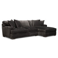 Teddy Fabric 2-Piece Chaise Sectional Sofa