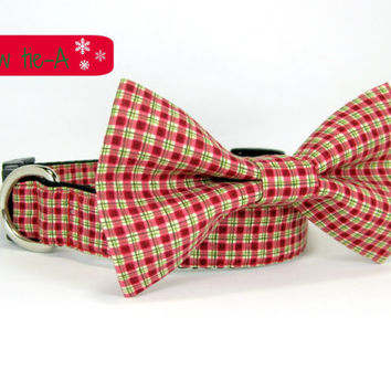 Christmas Dog Collar - Green/Red Check  Dog Collar with bow tie set  (Mini,X-Small,Small,Medium ,Large or X-Large Size)- Adjustable