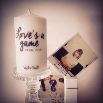 "Taylor Swift Inspired Candle ""Loves a Game Wanna Play?"""