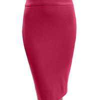 LE3NO Womens Stretchy High Waisted Pencil Tube Midi Skirt (CLEARANCE)