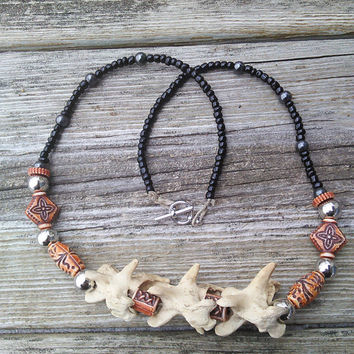 Tribal Bone Necklace - Magnetic Hematite Mens Necklace - Snapping turtle Bone Jewelry - Real Animal bone Vertebrae Spine - Boho Bone Jewelry