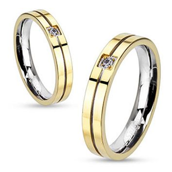 Grooved Center with Clear CZ Center Gold IP Band Ring Stainless Steel