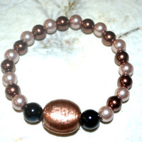 Beaded Gold Tone Bracelet , Stretch Bracelet