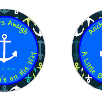 Instant Download- Anchors Aweigh A Boys on His Way Tag- Boy Baby Shower Tag- Editable Sticker- Boy Baby shower Sticker- 2 inch Sticker