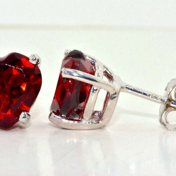 2 Carat Garnet Heart Stud Earrings .925 Sterling Silver Rhodium Finish