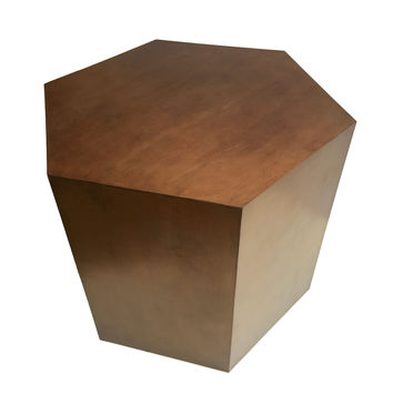 Hexagon Metallic Wood Modern Geometric Table- Oil Rubbed Bronze