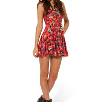 Red Strawberry Print Sleeveless Skater Dress