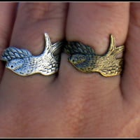 silver or brass bird ring wrap bird ring silver by alapopjewelry