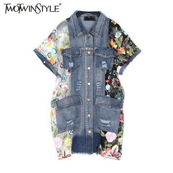 TWOTWINSTYLE 2017 Summer Women Embroidery Floral Tulle Patchwork Denim Coat Short Sleeve Ripped Jeans Jackets Big Sizes Casual
