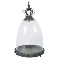 "21"" Crown Finial Glass Dome on Stand, Cloches & Domes"