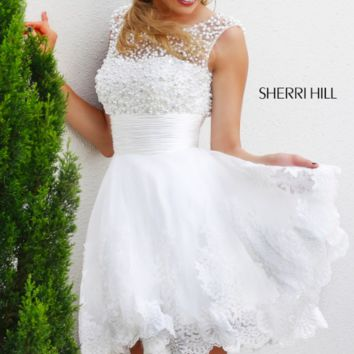 White Pearl Sherri Hill Cocktail Dress #4302