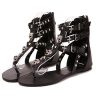 Ankle Length Gladiator Sandals with Rhinestone Skulls Black or White