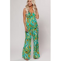 Standout Style Open Back Printed Jumpsuit (Aqua)