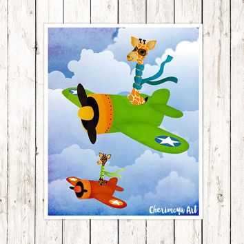 Giraffe Airplane Wall Art Kids Room Print For Boys Print Art Airplane Decor for Boys room Airplane Decor Kids Playroom Wall Art Illustration