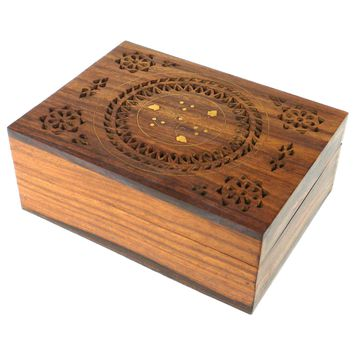 Handmade Carved Box - Floral Design with Brass Inlay - Noahs Ark (B)