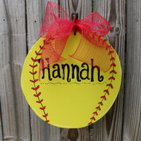 Large Softball Hand Painted Wood Sign - Show Off Your Player or Team