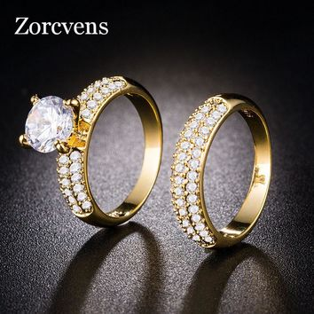 ZORCVENS 2pcs/set Gold and Silver Color Rings For Women AAA Zircon Jewelry Bijoux Accessories Engagement Wedding Jewelry
