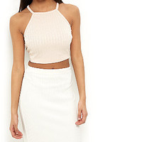 Shell Pink Ribbed High Neck Crop Top