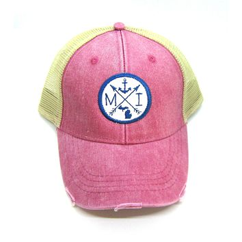 Washed Red Distressed Snapback Trucker Hat - Michigan Nautical Anchor - Patched Arrow Compass