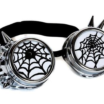 Silver Goggles with Black Spiderwebs Cobwebs & Spikes Goth Cyber Cosplay